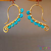"""Hammered wire wrapped with turquoise, 1-3/4"""" Earring Gold Or Silver"""