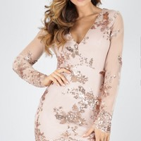 Front And Centre dress in gold sequin Produced By SHOWPO