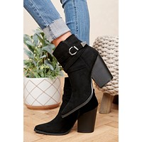 Here For Everyday Buckle Detail Booties (Black)