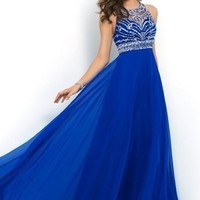 Elegant Royal Blue Chiffon A Line Prom Dress 2015 Halter Bandage Backless Sparkly Beading Long Prom Dress New-in Prom Dresses from Apparel & Accessories on Aliexpress.com | Alibaba Group