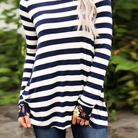 Blue Patchwork Floral Striped Long Sleeve Casual T-Shirt
