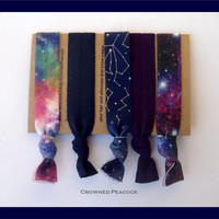 CONSTELLATION 5pc Hair Ties Set, Cosmic, Galaxy, Sky and Stars, Milky Way, Star Gazing, Astronomy, No Tug, No Dent,  Yoga Bands