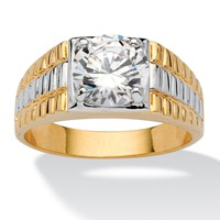 Men's 2 TCW Round Cubic Zirconia Textured Ring in 14k Gold-Plated