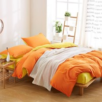 Home Textile Solid Bedding Set With Duvet Cover Bed Sheet Pillowcase Luxury 4 pcs Cotton Bedding Bed Linen King Queen Twin Size