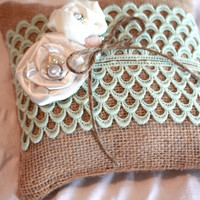 Burlap Ring Bearer Pillow with vintage lace