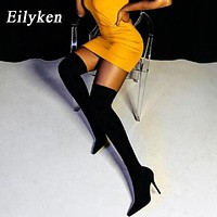 Eilyken 2021 Fashion Stretch Fabric Sock Boots Pointy Toe Over-the-Knee Heel Thigh High Pointed Toe Woman Boot size 35-42
