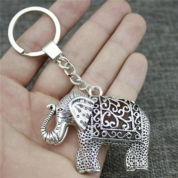 Antique Silver Elephant Key Chain