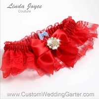 """Red and Red Lace Wedding Garter """"Penny 10"""" Gold"""