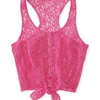Cropped Tie-Front Lace Woven Tank -