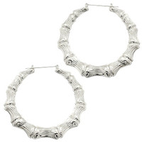 SILVER BAMBOO EARRINGS - Default Title