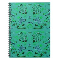 Pretty Green and Blue Floral Notebook