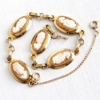 Vintage 12K Yellow Gold Filled Cameo Bracelet -  1950s Carved Shell Cameo Oval Link Jewelry