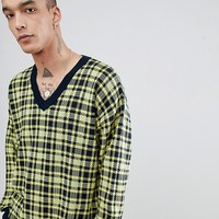 ASOS Knitted V Neck Check Jumper In Yellow at asos.com