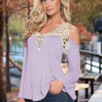 Women Winter Fashion Long Sleeve Lace Tops Off the Shoulder Blouse [9632892751]