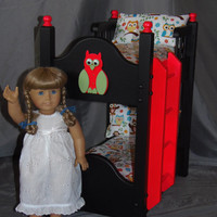 Doll Bunk Bed fits American Girl Doll and 18 inch dolls with Too Cute Owls on a Branch Bedding Painted Black