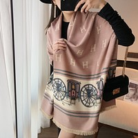 Hermes hot selling big-brand style simple atmosphere trend letter fight carriage print scarf