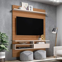 """53"""" Wooden TV Media Console with Shelves, White and Brown By The Urban Port"""