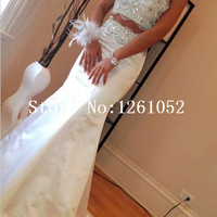 White High Neck Sleeveless Mermaid Two Piece Taffeta Prom Dress With Beading