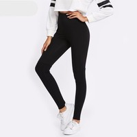 Cut and Sew Rib Knit Leggings Casual Workout Clothes