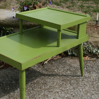 Green Mid Century End Table / Nighstand / Distressed furniture / Night Stand / retro / vintage / modern / accent piece