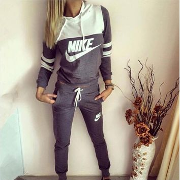 Nike Casual Print Hoodie Top Sweater Pants Trousers Set Two-piece High quality Sportswear