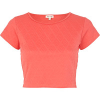 River Island Womens Coral textured cap sleeve crop top