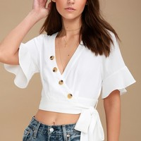 Envie White Wrap Crop Top
