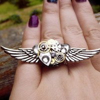 Steampunk ring, silver steampunk, filigree ring, boho ring, angel ring, magic ring, watch gear ring, crystal ring, steampunk fashion, OOAK