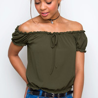Livvy Off The Shoulder Top - Olive