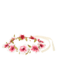 Pink Ombre Flower and Seed Bead Hair Garland