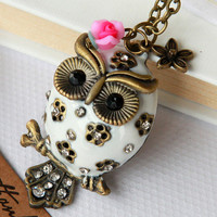 vintage cute big belly owl Necklace with pink flower by Sevinoma