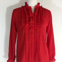 Vintage Womens Red Blouse Ruffle Blouse Button Down Secretary Blouse Polyester Blouse Tuxedo Style Christmas Blouse