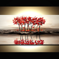 ORIGINAL Abstract Contemporary Red Blossom Acrylic Tree Painting on White Landscape Palette Knife Texture by Osnat Ready to Hang