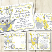 Neutral gender baby shower printable invitation set owl music digital invite with inserts yellow grey bring book elephant Diaper Raffle card