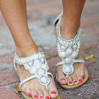 Rock Your World Sandals: Light Grey | Hope's
