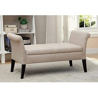 Doheny Contemporary Bench With Storage In Ivory Finish By Casagear Home