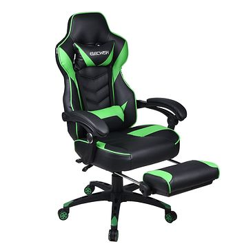 Video Gaming Chair Racing Office - Reclining PU Leather High Back Ergonomic Adjustable Swivel Executive Computer Desk Large Size Footrest Headrest Lumbar Support Adjustable arms Cushion Green
