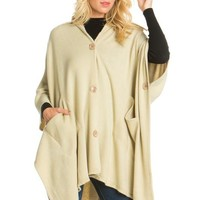 BUTTON UP SOLID HOODY PANCHO WITH POCKETS