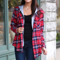 Out of the Woods Plaid Hoodie {Red Mix}