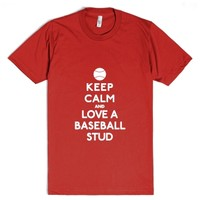 Keep Calm and love a baseball stud-Unisex Red T-Shirt