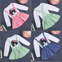 Baby Girls One-piece Clothes Polka Dot Big Bowknot Shirt Tops Kids Overall Dress = 1958044420