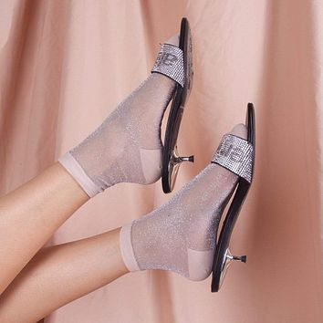 Gia Sheer Mesh Sock | Silver