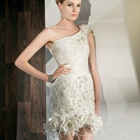 Taffeta and lace one shoulder with a Pleated bodice Wedding Dress - Basadress.com