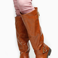 Chestnut Faux Leather Gold Accent Knee High Rider Boots