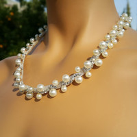 Stylish Wedding Double Pearl and Ringstone Necklace Jewelry Bridal Accessory