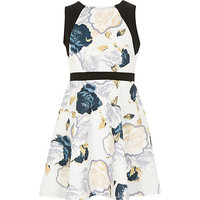River Island Girls cream floral skater dress