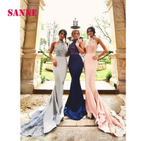 Vestidos De Festa Para Casamento Sexy High-neck Evening Gowns Mermaid Long Prom Dress with Train