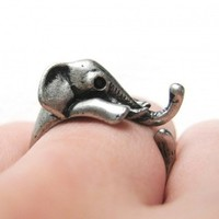 Miniature Elephant Ring in Silver Sizes 5 to 10 Available by Dotoly