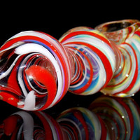Triple Peppermint Red and White Heavy Large Glass Spoon Bowl - Color Changing 3 Bubble Design Pipe