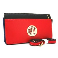 Trendy Clutch Purse Wallet w/ Messenger Bag Strap Included Red